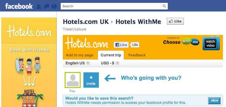 Aplikacja na Facebooku Hotels.com