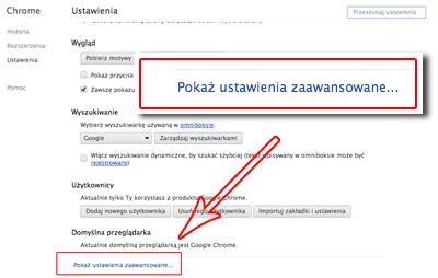 Chrome ustawienia zaawansowane