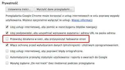 Google Chrome Prywatność